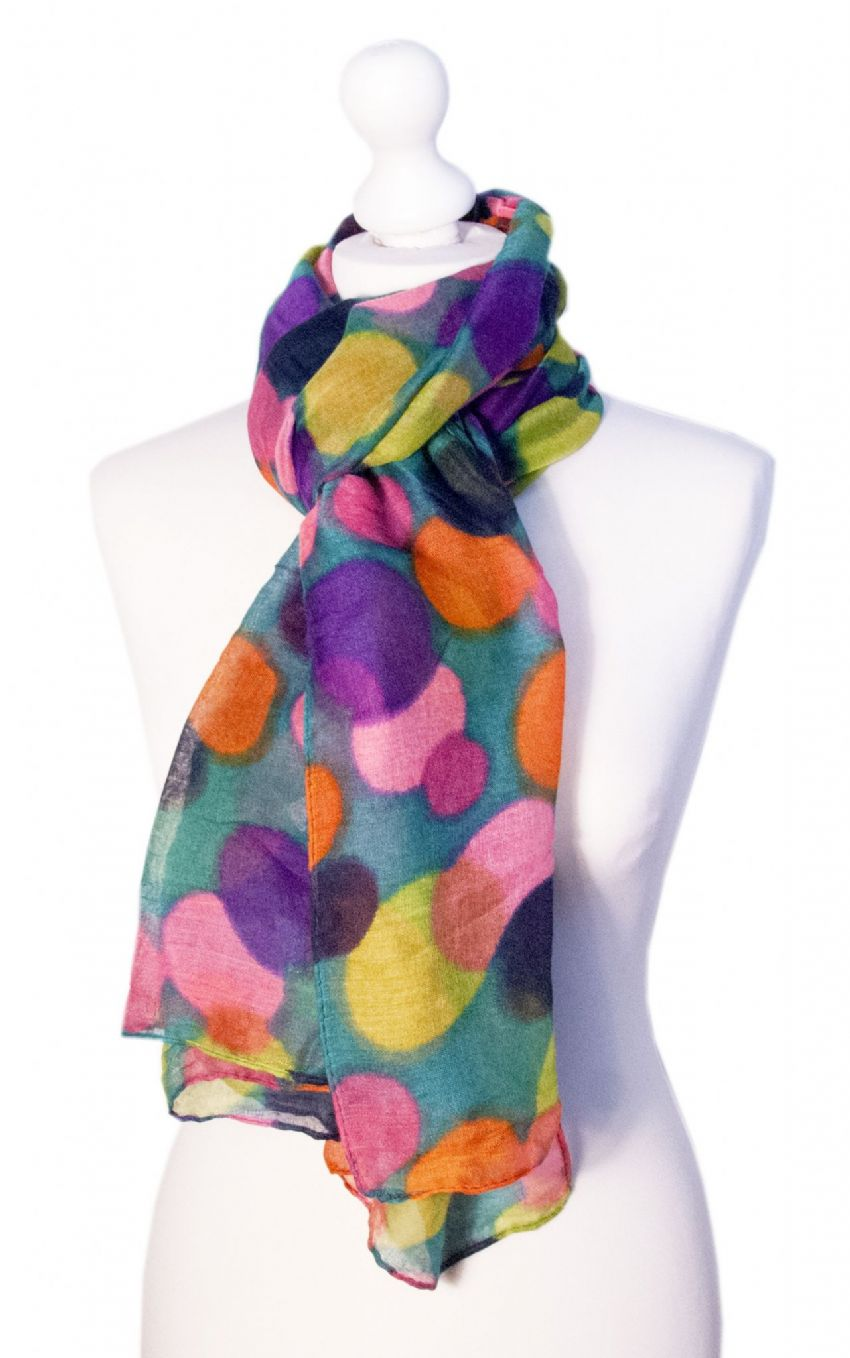 Believe - Large Silky Touch Bright Polka Dot Design Fashion Scarf  (Turquoise and Bright)